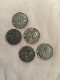 5-1943 steel pennies (Collectable Rare coins) Portsmouth, 23704