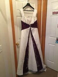 Soft ivory and royal purple wedding gown Calgary, T3G 3N1