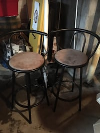 two black metal framed brown padded bar stools Middleboro, 02346
