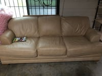 brown leather 3-seat sofa Clinton