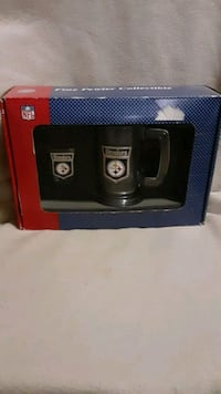 Steelers pewter shot glass and mug set