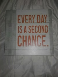 Canvas wall hanging with phrase  Brantford, N3S 5P5