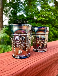 Gorgeous Antique Pair of Harvest Blue Carnival Glass Cup Tumblers, Made by Indiana Glass Falls Church, 22046