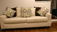 Beige fabric 3-seat sofa with 7 cushions  North Potomac, 20878