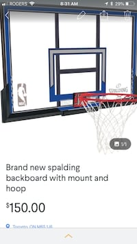 Brand new basket ball backboard/hoop and bracket Toronto, M6S 1J6