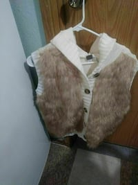 white and grey fur button-up vest