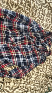 blue, white, and red plaid shorts Southgate
