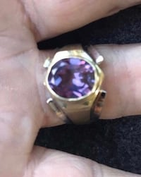 14k yellow gold and large amethyst men's ring.  New.  Size 11.5.  Solid gold.  Totally resizable.  7.6 grams of 14k yellow gold.  Makes for a great birthday or Christmas present for him.   As always, jewelry is stamped, I bring a jewelers loupe, and testi Fullerton, 92831
