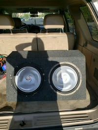 Black and Gray Kenwood Subwoofer Speakers and amp