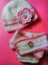 New born white-and-pink knitted hat and panty Washington, 15301