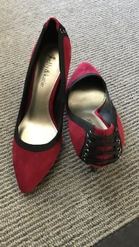 Pair of red suede peep-toe heeled shoes size 6 Calgary, T3H