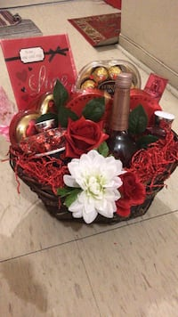 red rose and white mums flower accent gift set Toronto, M5A 1W6