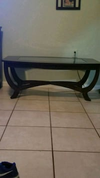 rectangular brown wooden framed glass top coffee table Fort Worth, 76148