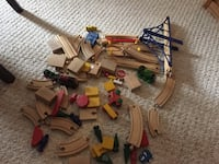 Wooden train pieces and 2 metal engines from Thomas North Bay, P1B