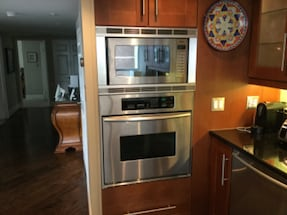 Built in electric convection wall oven and microwave