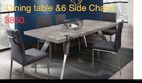 Rectangular brown wooden table with chairs Visalia
