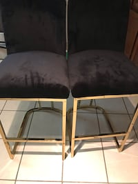 two brown wooden framed gray padded chairs Lanham, 20706