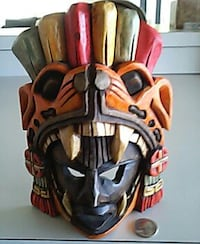 black, brown, and red wooden tribal mask Fort Myers, 33967