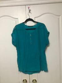 women's blue scoop neck shirt Vaughan