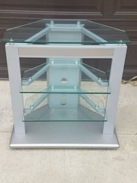 gray and clear glass TV stand Ventura, 93003