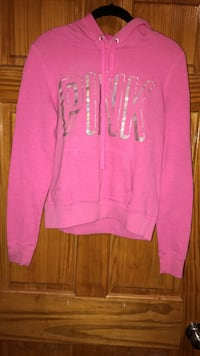 pink pull over hoodie