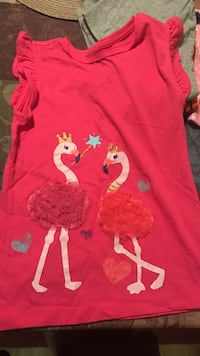 girl's red fairy flamingo printed crew neck cap sleeved top Oceanside, 92056