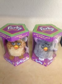 two Electronic Furby toy boxes