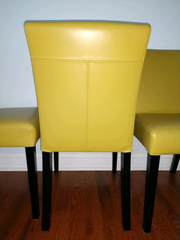 4 mustard yellow leather dining chairs e150a5ee-6790-4274-8d6e-6e3e9d61b671