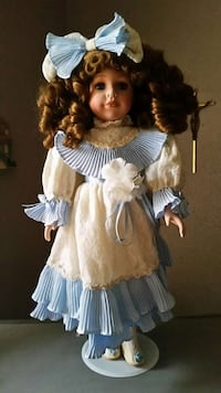 doll in blue and beige dress Struthers, 44471
