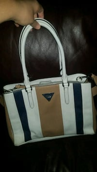 white and blue leather tote bag Winnipeg