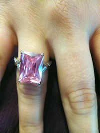 Emerald cut pink crystal 18k white gold plated 6 Chico, 95926