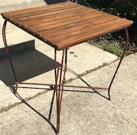 Table / wood and steel. Size 27 x 27 x 28.5 tall. Columbus