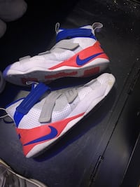 Pair of white-and-blue nike basketball shoes Durham, 27703