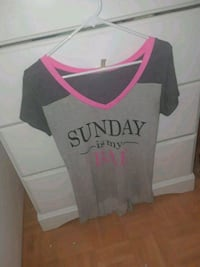 women's gray and pink v-neck t-shirt