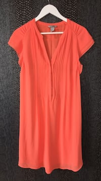 Orange V-Neck Cap-Sleeved Klänning Lund, 222 25