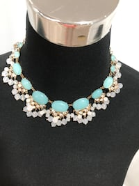 Beaded blue/ white and clear crystals statement necklace Keswick, L4P 3P2