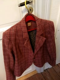 rød og svart plaid button-up jakke 5941 km