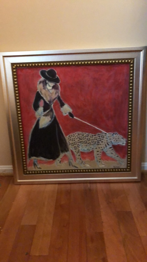 Foxy Lady walking Cougar painting 30x30