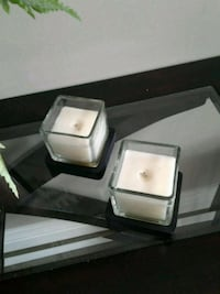2 square glass candles with with wood coasters