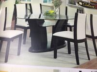 round black wooden table with four chairs dining set Toronto, M9V 4J9