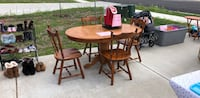 Round brown wooden table with four chairs dining set Anderson, 46011