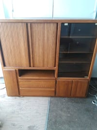 brown wooden TV hutch with cabinet 1952 mi