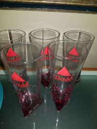 5 Bass Ale pint triangle bottom pilsner glasses