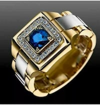REDUCED Mens blue and white Sapphire Ring 18K Filled 925 SS Louisville, 40203
