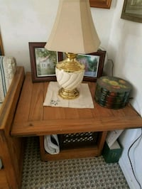 brown wooden table with white lampshade Elkridge, 21075