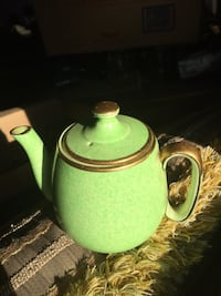 Old Green ceramic tea pot