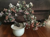 pink and red glass flowering bonsai decor