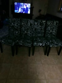 black and gray floral padded chairs Oxnard, 93033