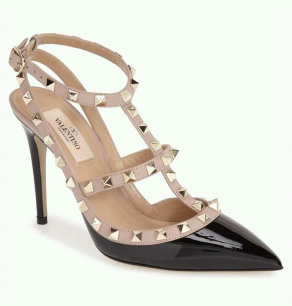 unpaired brown leather open-toe ankle strap heeled sandal