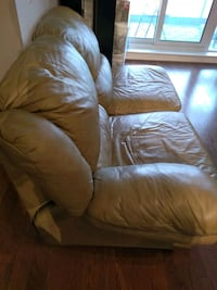 Cream leather sofa couch recliner